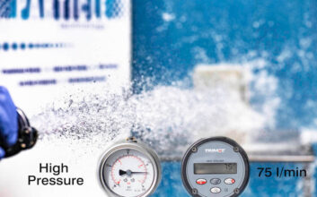 Water jet used for IP testing showing pressure and litres per minute that can be achieved